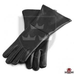 Historical Leather Gauntlets/Gloves - Black